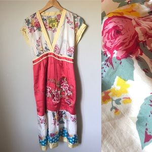 Johnny Was silk floral embroidered dress sz small